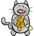 cat with yarn cartoon vector image vector image