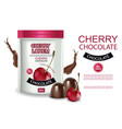 cherry chocolate realistic mock up chocolate vector image vector image