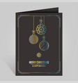 christmas card with vintage golden xmas balls vector image
