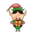 christmas elf helper with gift box cartoon vector image vector image