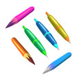 color pencils and pen different colors flat vector image