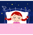 Cute little dreaming girl in bed with night sky vector image