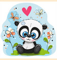 cute panda with flowers and butterflies vector image vector image
