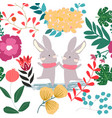 cute sweet pink and green flower and rabbit bunny vector image vector image