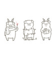 cute with three funny piglet vector image