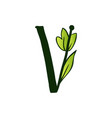 doodling eco alphabet letter vtype with leaves vector image