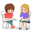 elementary school classmates girls reading books vector image vector image