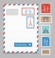 envelope with postage stamps with line travelling vector image