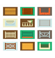 fences and barriers set wooden farmhouse brick vector image