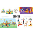 flat carnival circus elements set vector image