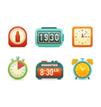 Flat clock icons set vector image vector image
