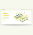 global money transfer web page template vector image