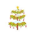 green christmas tree decorated with toys lights vector image