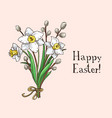 hand drawn easter gift card with daffodiles vector image vector image