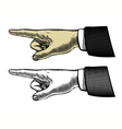 hand with pointing finger in engraved style vector image