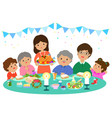 happy family having a christmas dinner vector image vector image