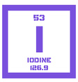 Iodine chemical element vector image