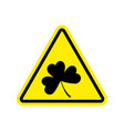 irishman warning clover on yellow triangle road vector image vector image