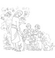 jesus with children cartoon coloring page vector image