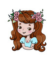 little happy smiling cute redhead girl vector image