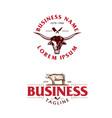 meat shop logo beef theme set vector image