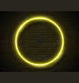 neon glowing circle yellow frame for banner vector image vector image