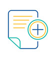 office doc adding blue and yellow linear icon vector image vector image
