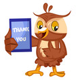 owl with thank you sign on white background vector image vector image