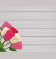 roses bouquet on wooden background vector image