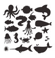 sea animals silhouette creatures characters vector image