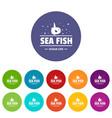 sea market icons set color vector image vector image