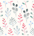 seamless pattern with watercolor leaf and branch vector image
