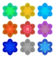 Set of Colorful Snowflakes Isolated vector image vector image