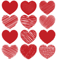Set Of Hand Drawn Scribble Hearts Icon Design vector image vector image