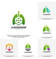 Set of lungs gear logo designs lungs with gear