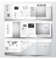 set of tri-fold brochures square design vector image vector image