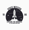 space design for t-shirt with rocket launch vector image vector image