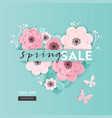 spring sale banner background paper cut flowers vector image vector image