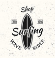 surfing black vintage emblem with surfboard vector image vector image