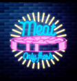 vintage meat store emblem glowing neon sign vector image vector image