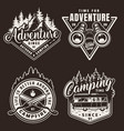 vintage monochrome camping labels vector image vector image