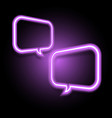 violet neon speech bubble on dark background vector image vector image