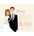 wedding couple in Paris vector image vector image