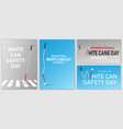 white cane safety banner set realistic style vector image