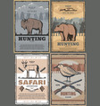 wild animals hunting safari adventure retro poster vector image vector image