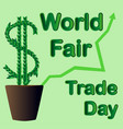 world fair trade day the money tree grows in a vector image