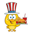 yellow chick character with usa patriotic hat vector image vector image