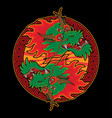 ying yang head dragon vector image