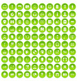 100 microphone icons set green circle vector image vector image