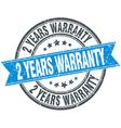 2 years warranty blue round grunge vintage ribbon vector image